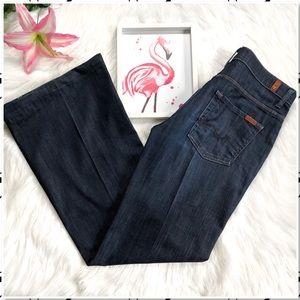 7FAMK Ginger Wide Leg Trouser Flare Jeans Dark 30